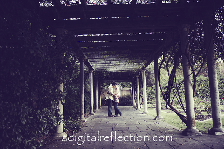 Professional Engagement Portraits for Brittany Fuller and Will Hall by Birmingham Wedding Photographer Dona Bonnett A Digital Reflection Photography & Videography environmental on location Morris Avenue, Railroad Park, Birmingham Botanical Gardens and Vulcan Park